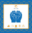 hands holding credit card - icon vector image