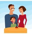 Happy family mother father and son eating icecream vector image
