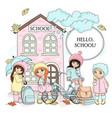 hello school autumn color vector image vector image