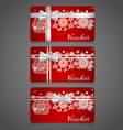 Holiday gift coupons with snowflake background vector image