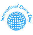 international dance day blue mirror ball white vector image vector image