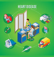 isometric heart health monitoring concept vector image