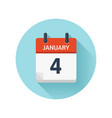 january 4 flat daily calendar icon date vector image vector image
