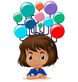 Little girl with idea bubbles vector image vector image
