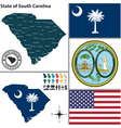 Map of South Carolina with seal vector image vector image