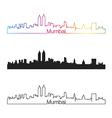 mumbai skyline linear style with rainbow vector image vector image