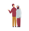 muslim men greeting and hugging each other as they vector image vector image