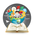 Open book infographic innovation idea on world vector image