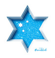 origami happy hanukkah greeting card on blue vector image