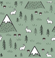 rabbit and mountains seamless pattern background vector image vector image
