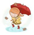 rain girl autumn fall umbrella season illus