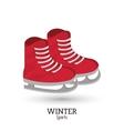 Red ice skate winter sport vector image