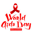 red ribbon loop symbol world aids day handwriting vector image vector image