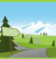road to snow and direction sign vector image vector image