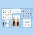 set designs engineer men with set icons working vector image vector image