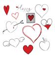 set doodle hearts vector image