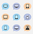 set of 9 editable gadget icons includes symbols vector image vector image