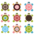 set of color turtles vector image