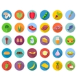 Set of food icons in flat design with long shadows vector image vector image