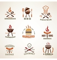 set vintage barbecue and grill labels badges vector image