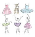 sketch pictures of different ballet dancers vector image vector image