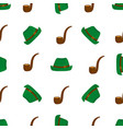 Smoking pipe and green hat seamless pattern
