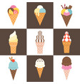 soft serve ice cream cone icon set vector image vector image