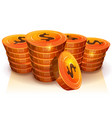 stack of dollar coins for game ui vector image vector image