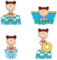 swimmer girls in different situations vector image