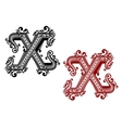 Vintage letter X with ornament vector image vector image