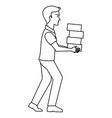 worker construction lifting bricks vector image vector image