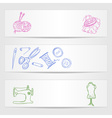 Banners with sewing and knitting supplies vector image
