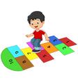 Cartoon boy on the hopscotch vector image