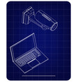 3d model of surveillance camera and laptop vector image