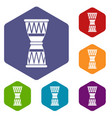 african drum icons set vector image