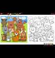 animal characters group coloring book page vector image vector image