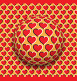 ball with a hearts pattern rolling along the red vector image vector image