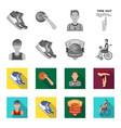 basketball and attributes monochromeflat icons in vector image vector image