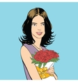 Beautiful young woman with a bouquet of roses vector image vector image