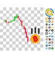 bitcoin fall down icon with bonus vector image