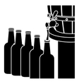 black beer bottles filling up icon vector image