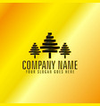 black trees emblem with golden background vector image
