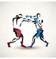 boxing couple silhouette stylized sketch vector image vector image
