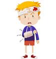 Boy having head and arm injury vector image