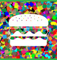 burger simple sign white icon on colorful vector image