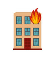 Burning house icon flat style