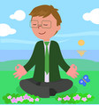 business man in meditation pose vector image vector image