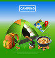 camping realistic colored poster vector image vector image