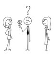 cartoon man on date holding flower and vector image