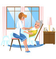 cartoon sweet nurse feeding old lady in bed vector image vector image